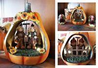 Lighted Autumn Harvest Scarecrow Pumpkin Figurine Thanksgiving Centerpiece