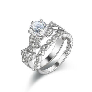 Wedding Engagement Ring Bridal Set 925 Sterling Silver Round White AAA Cz Size 6
