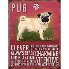 Vintage Style Metal Dog Sign Retro Hanging Plaque Breed Characteristics - 20cm Pug