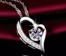 Halskette Herz Collier mit Swarovski Kristallen Zirkon 925 Sterling Silber Neu