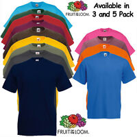 Mens T Shirt Pack 3 and 5 Fruit Of The Loom 100% Cotton Plain Tee Shirt T Shirt