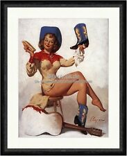 Clean the Cowbogirl boots Gil Elvgren Hut Western Gitarre Kunstdruck Pin Up 072