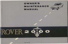 Rover 2000 P6 original Owners Maintenance Manual (Handbook) 1964 No. TP334/C