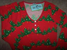 NWT Bedhead BHPJ's Red/Green CHRISTMAS TREES Jersey Knit Pajamas Set L BH PJS