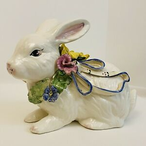 Easter Ceramic Rabbit Bunny Hand Painted White Flowers Large 9.5 Inches High