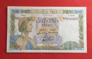 "500 FRANCS 1941 "" LA PAIX "" 6 FEVRIER 1941 BILLET BANQUE DE FRANCE."