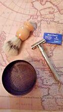 SAFETY RAZOR SHAVE BRUSH SOAP BOWL KIT VINTAGE STYLE SHAVE SET