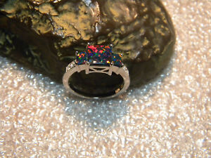 SPECIAL 2.50 Carat Black Opal Square Cut And Accents .925 Silver Ring Size US7