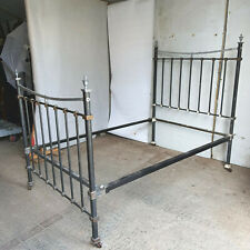 More details for antique,victorian,4',small double,metal,bed frame,4' new mattress,bed,castors,