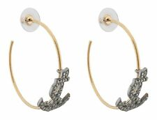 Zest Swarovski Crystal Anchor Charm on Golden Hoop Pierced Earrings