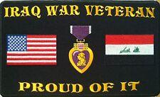 IRAQ WAR VETERAN PROUD OF IT Iron On Patch Purple Heart Iraq Flag USA Flag