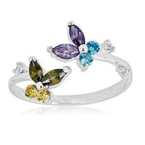 AVORA 925 Sterling Silver Adjustable Butterfly Toe Ring with Cubic Zirconia CZ