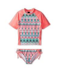 Hurley Girls M 5 Swimsuit 2 Pc Tankini Rash Guard Set Short Sleeve Phoenix Pink