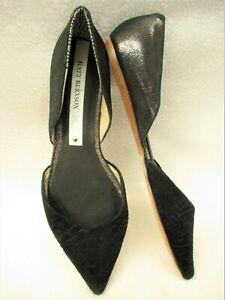 MATT BERNSON~NEW!!~BLACK LEATHER & SUEDE SLIP ON POINTED TOE DRESS SHOES-10M