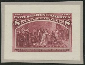 #236P2 SMALL DIE PLATE PROOF ON WHITE WOVE PAPER SUPERB BS1414