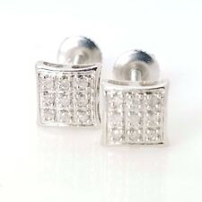 New 10k Solid White Gold .10ct Diamond 6mm Square Small Screw Back Earrings