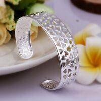 Women Girls 925 Sterling Silver Filled Filigree Heart Bracelet Bangle Xmas Gift