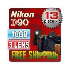 Nikon D90 SLR Camera Body & 16GB 13PCS 3 Lenses New