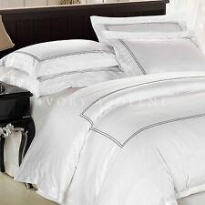 White Cotton Quilt Cover Satin Trim Queen Size Duvet Doona New Bed Set BOULEVARD