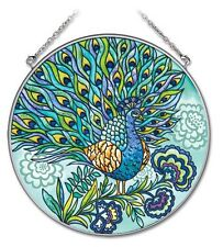 """AMIA STAINED GLASS SUNCATCHER 6.5"""" ROUND PEACOCK #41904"""