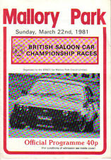 Mallory Park British Saloon Car Races original Official Programme 22nd Mar 1981