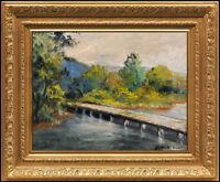 JULES R. HERVE Original OIL PAINTING on BOARD Landscape Signed Framed Artwork