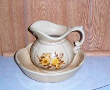Vintage Brown Pitcher and Bowl