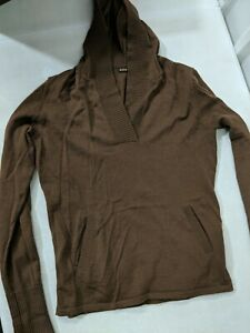 Preowned Kuhl Womens Merino Wool V-Neck Pullover Hoodie wth Pockets Brown Medium