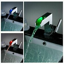 Chrome LED Waterfall Colors Changing Bathroom Basin Mixer Sink Faucet - HDD728