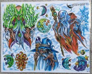 "Tattoo Flash Single Sheet Print by William Webb Wizards Merlin Sorcery 11"" X 14"""