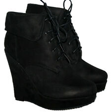 "LADIES 5"" WEDGE HEEL BLACK FAUX SUEDE LACE UP ANKLE BOOT WITH COLLAR IN SIZE 7"