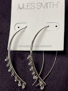Jules Smith Silver Threader Oval Rhineston Earrings