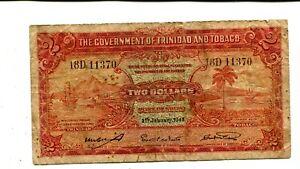TRINIDAD & TOBAGO 2 DOLLARS 1943 FINE PICK 8 NR 30.00