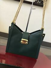605ffeb12368 MICHAEL Michael Kors Whitney Polished Leather Chain Shoulder Tote Racing  Green