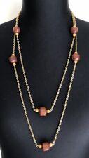 Retro Wooden Bead Gold Tone Chain Extra Long Boho Necklace