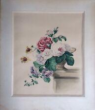 NATURE MORTE XIXème - GERBE DE THORE BOUQUET DE ROSES 1875 AQUARELLE 41 X 34 cm