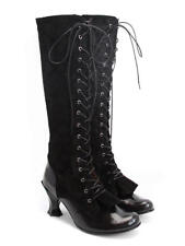 FLUEVOG Baroque Velazquez black lace-up knee boots gothic goth steampunk 8 6 39