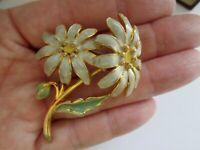 Vintage Joan Rivers Jewellery Grey Green Lemon Enamel Daisy Flower Brooch Pin