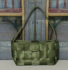Harvey's Seatbelt Purse Green Satchel Shoulder Carry Bag Medium