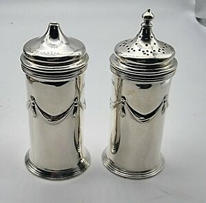 NICE LARGE PAIR ANTIQUE STERLING SILVER PEPPER & SALT SHAKERS SHEFFIELD 1907