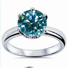 14K White Gold Finish 7 Size 2 Ct Solitaire Blue Moissanite Engagement Ring
