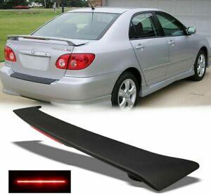 For 2003-2008 Toyota Corolla CE LE S Matte Black Rear Trunk Spoiler w/LED Brake