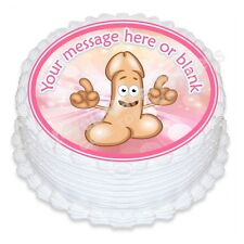 ND3 Willy penis hen night rude Birthday personalised round cake topper icing