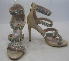 """GOLD/Champagne 5.5""""Stiletto High Heel Open Toe Ankle Strap Sexy Shoes Size 8.5"""