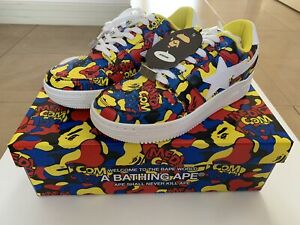 AUTHENTIC APE BAPE x MEDICOM TOY CAMO BAPE STA LOW SNEAKERS US 11 NEW