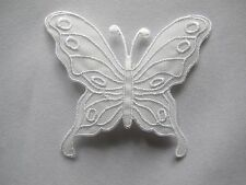 """#4005 3-1/4"""" White Butterfly Embroidery Applique Patch"""