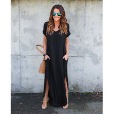 Summer Women's T-Shirt Long Maxi Split Evening Party Solid Shirt Dress Plus Size