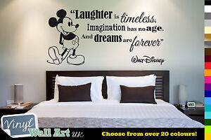 Laughter Is Timeless - Walt Disney Quote Vinyl Wall Art Sticker + Mickey Mouse