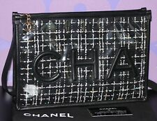 CHANEL '19 Quilted Tweed PVC COCO Wristlet Large Clutch Black Multicolor *RARE*!