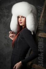 Pure white full fur winter trapper hat.Saga Furs S/M or L/XL.